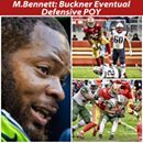 """Bennett: """"I think DeForest will eventually be a Defensive Player of the Year. I think he has the talent to be able to do that. I think his physique – I keep telling him there's nobody like him. He's not normal. His body, his physique, his speed, it's not normal. So when you're not normal you can do not normal things and winning the defensive MVP is not normal for most people. I think he has the capability of doing that."""" I just want to say I've never said anything bad about Michael Bennett…"""