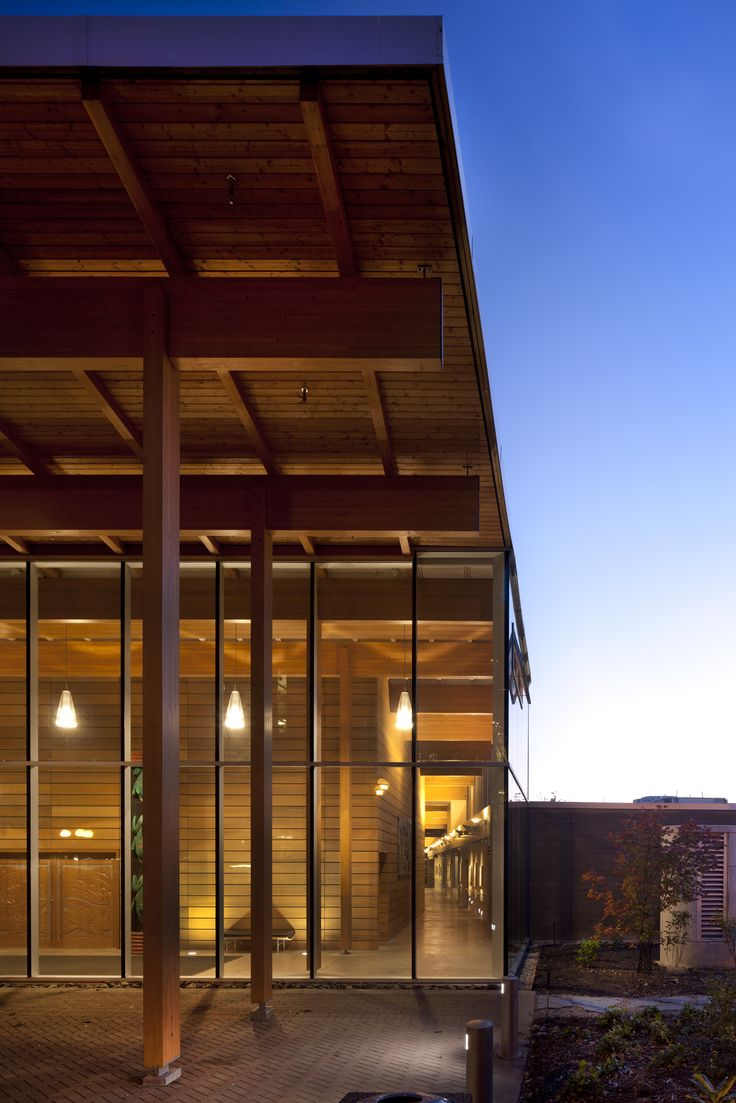 First Peoples House, Victoria BC View of main entrance,  Formline Architecture, Photo: Nic Lehoux