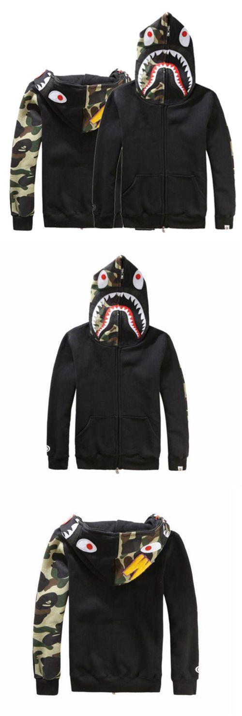 Sweats and Hoodies 155183: Mens Bape Jacket Shark Head Zip Hoodie Sweater A Bathing Ape Coat Man Women Cool -> BUY IT NOW ONLY: $33.66 on eBay!
