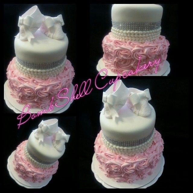 Attractive Diamonds And Pearls Baby Shower Cake