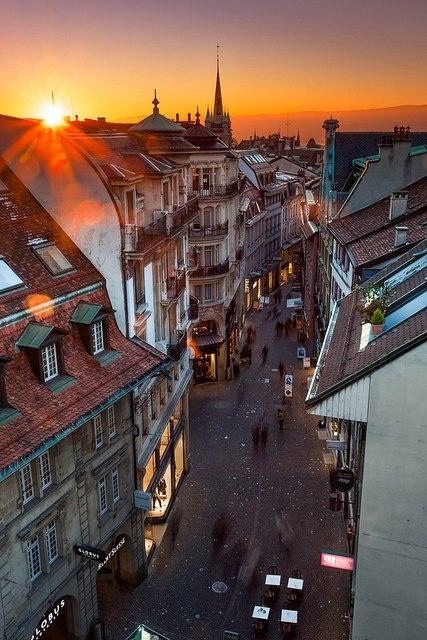 sunset at Lausanne, Switzerland #Destination42 #destination #wedding #honeymoon #travel #Europe #romantic #bride #groom #romance #getaway #love #beautiful #laussane #switzerland