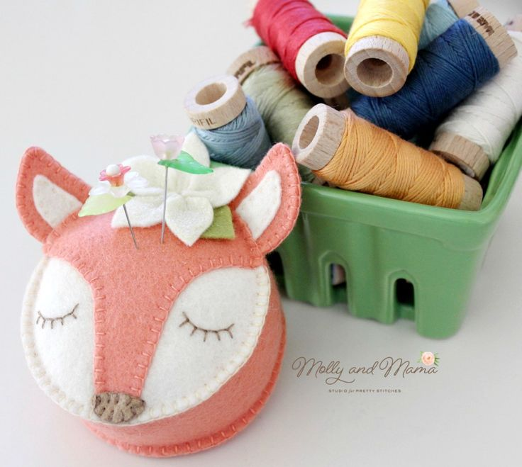 Fifi Fox pin cushion with Aurifil Floss - Molly and Mama