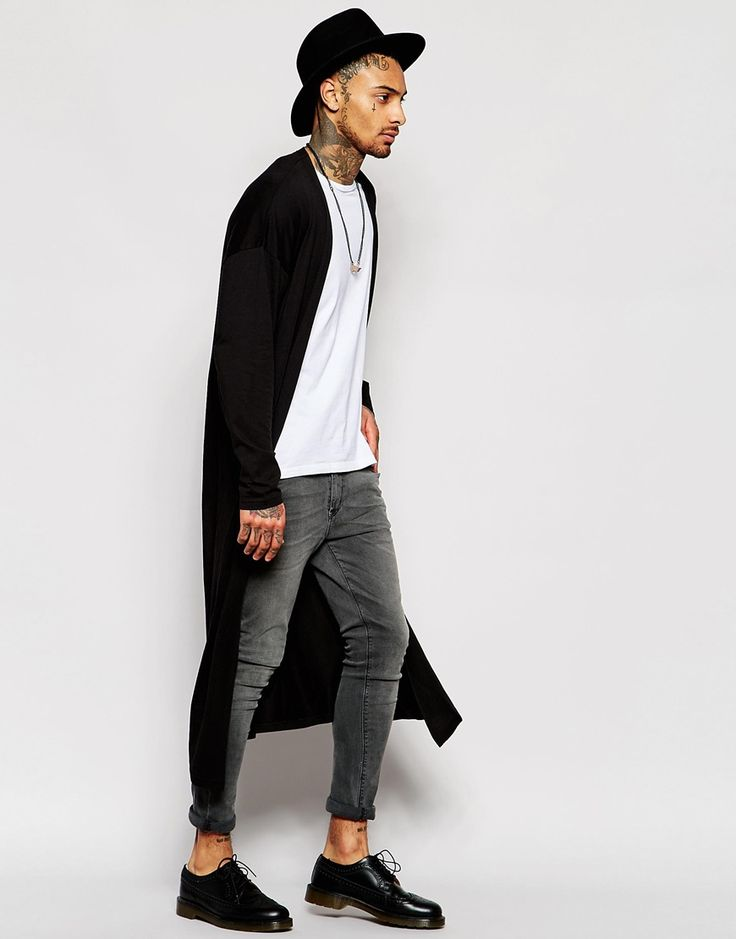 Image 4 of ASOS Extreme Longline Lightweight Jersey Cardigan In Black