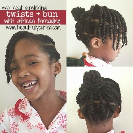 Ghana Plaits (African Threading) into a bun with side bang of twists.