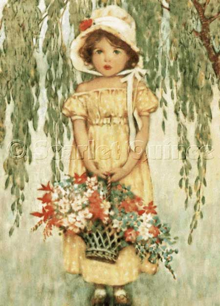 Cross stitch chart: B is for Basket - Jessie Willcox Smith. A little girl holding a basket of red, white, and blue flowers. She is wearing a yellow empire-style dress dotted with white and a big bonnet with a red flower on the brim, and she stands under a weeping willow tree. (About 1910)  http://www.scarletquince.com/pat.php?pat=SMI007#