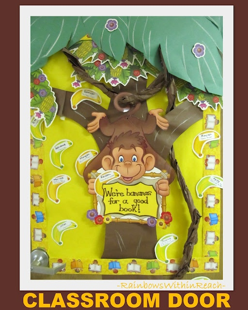 Classroom Door with Monkey theme, article has jungle/zoo art + craft ideas