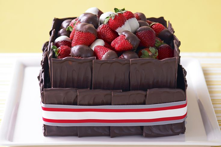 Rich chocolate and strawberry cake, February 22, 2013 http://www.taste.com.au/recipes/21602/rich+chocolate+and+strawberry+cake