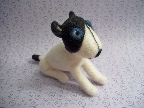 Needle Felted Dog Mini Dog Figure FeltWithAHeart