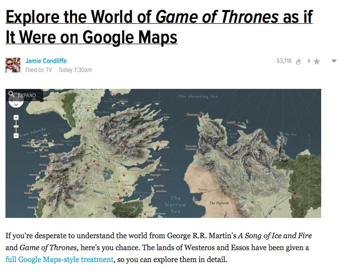 Interactive map of Westeros from A Song Of Ice And Fire