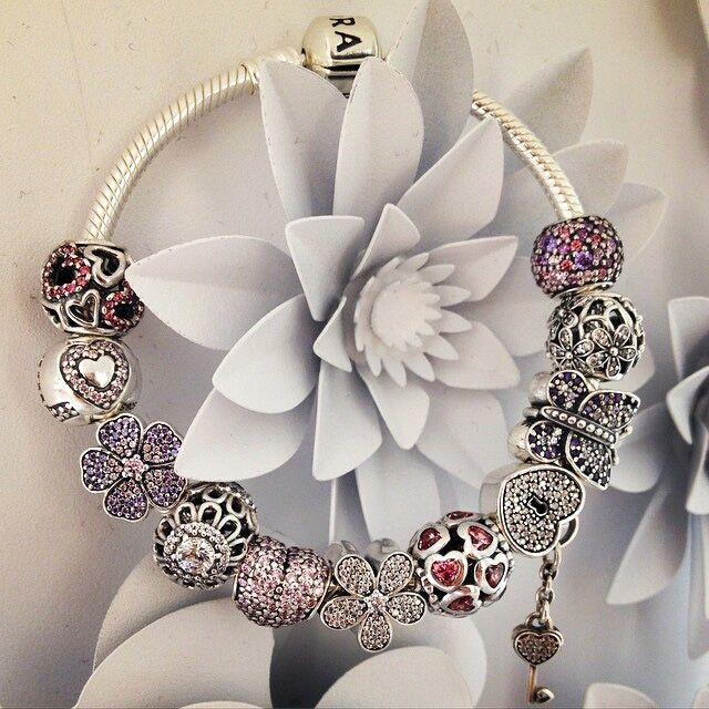 $279 Pandora Charm Bracelet Pink Purple. Hot Sale!