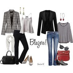 """I love how virtually any blazer can go from dressy and professional to casual and laid back.  """"Versatile Blazers for Fall/Winter-Over 40 Fashion"""" by sheila-r on Polyvore"""