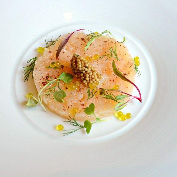 Scallops Tartar, roasted shrimp oil,pink peppercorns, marinated mustard seeds & micro green @ FINDS Restaurant & Bar