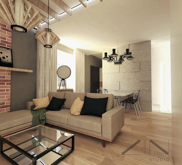 Projekt mieszkania: styl , w kategorii Salon zaprojektowany przez ZIN Studio