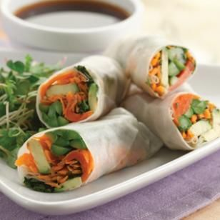 Asparagus and Salmon Spring Rolls. A nice little twist on your traditional spring roll. 102 calories/roll