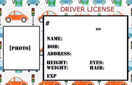 drivers license template for preschool