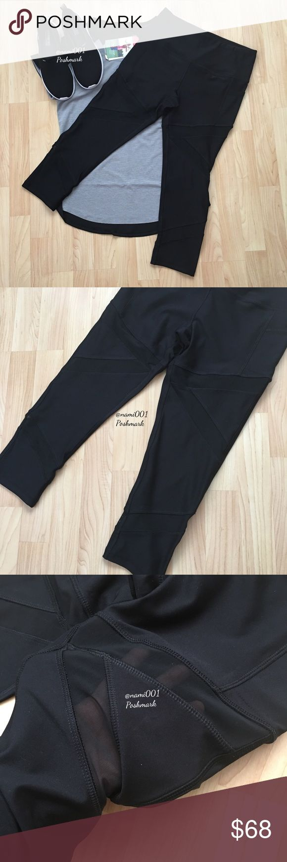 """Mesh See Thru Workout Athletic Capri Legging Pants The hottest trend to hit the """"casual"""" runway  has a little bit of sass & sexy. These chic and trendy athletic capri leggings by X by Gottex will be your go to pants for style and comfort whether it's an active day out or getting your workout on. Front has 2 mesh panels on the thigh that connect in a V. There's a mesh panel on the bottom that connects to the back. Made of 88% polyester & 12% spandex. Measures: 13"""" waist 20"""" inseam, 8.5"""" rise…"""