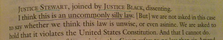 Con law:  Griswold v. Connecticut- this is an uncommonly silly law.