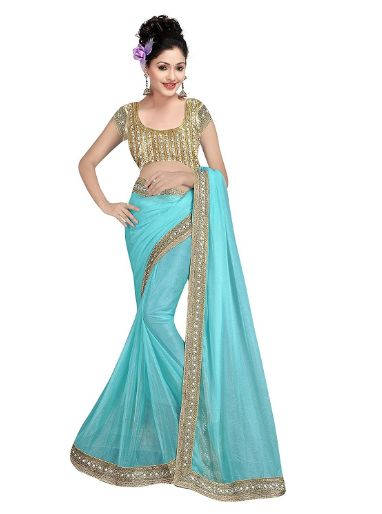 This is a stylish ethnic ware lycra fabric blue color saree and this saree design is very pretty. It is plain saree and saree fully has a gorgeous mirror work lace and heavy blouse. It saree blouse color is gold and it is fully design with mirror work also has a mirror lace and it blouse gives a most attractive look of the saree. this same design and same cost sarees colors are available those are blue, pink, pitch, rani, red and sea green. It is a pretty and fashionable mirror work saree