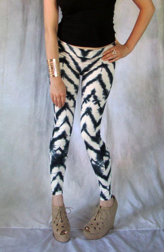 Chevron Leggings Shibori Tie Dye womens printed fall by luvluxx