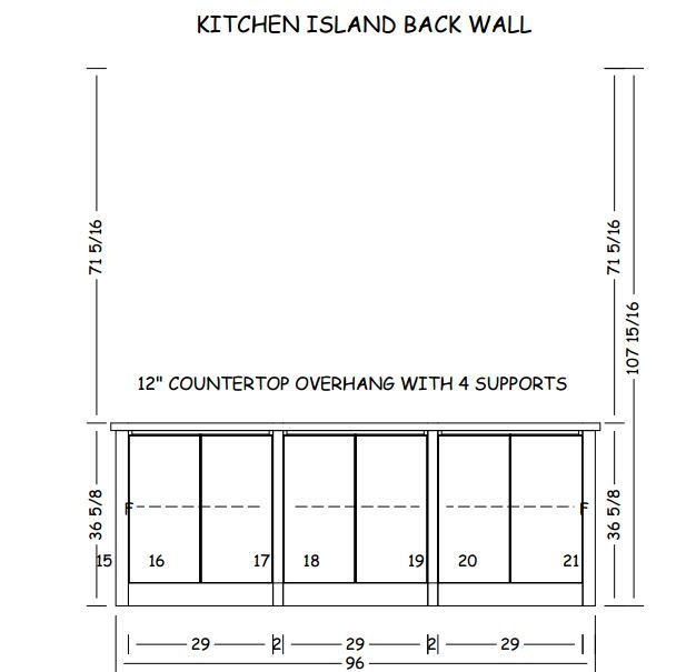 Kitchen Island Back wall with flat panel