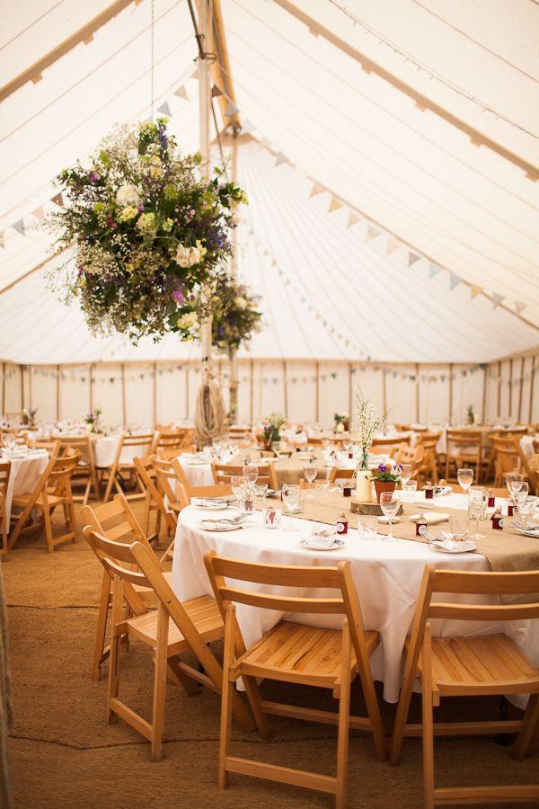outdoor, white tent reception burlap floor