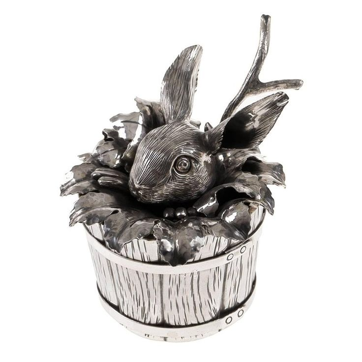 Bunny Sterling Silver Sugar Container | From a unique collection of antique and modern sterling-silver at https://mario.1stdibs.com/furniture/dining-entertaining/sterling-silver/