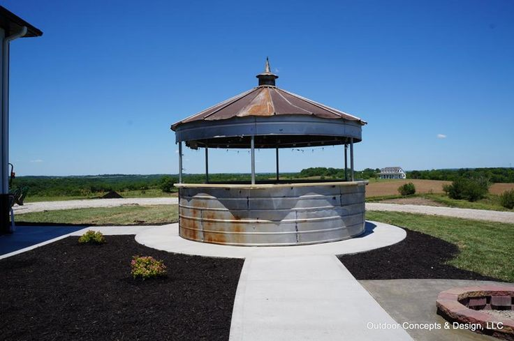 Grain bin bar a stunning outdoor living space completed for Outdoor living concepts