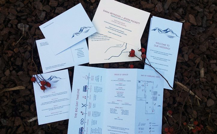 Lake wedding invitation by Beechtree Creative.