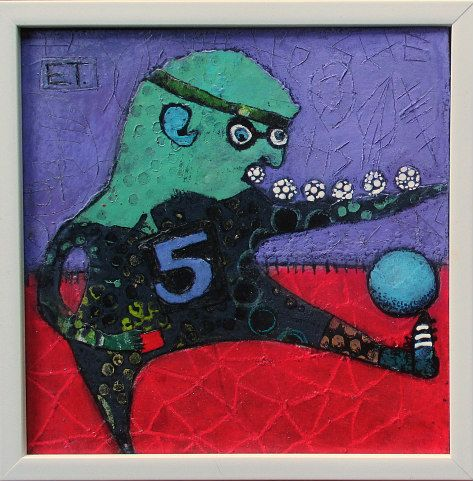 Elke Trittel acrylci,collage on board 20x20cm