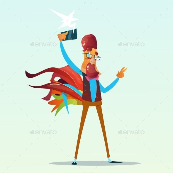 Cartoon Rooster Hipster Making Selfie Photo On Smart Phone Happy 2017 New Year Symbol Flat Vector Illustration