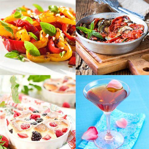 Au menu ce wek-end : Salade fraîcheur aux poivrons, gratin de légumes du Sud, gratin de fruits, cocktail élégant ...