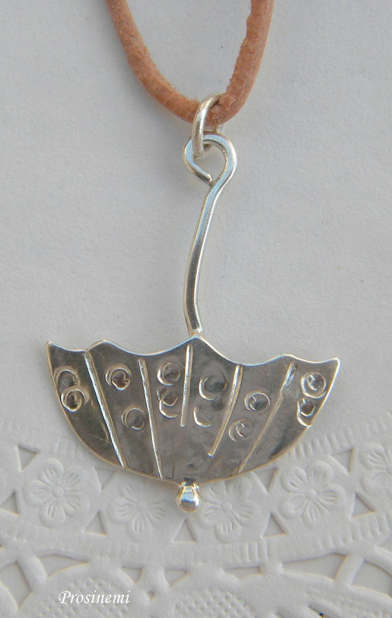First rain  autumn umbrella silver handmade pendant by prosinemi, €30.00
