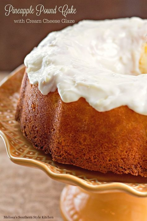 Pineapple Pound Cake With Cream Cheese Glaze - melissassouthernstylekitchen.com