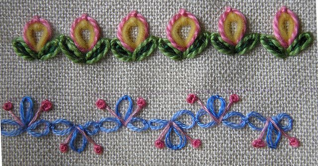 I ❤ embroidery . . . detached chain tast by Lin Moon- The top row is a Lazy Daisy in yellow velour, surrounded by another in pink floss. Each leaf is a decorative Lazy Daisy, meaning that a decorative straight stitch (dark green, here) is added to the Lazy Daisy (in light green) straight down the middle.