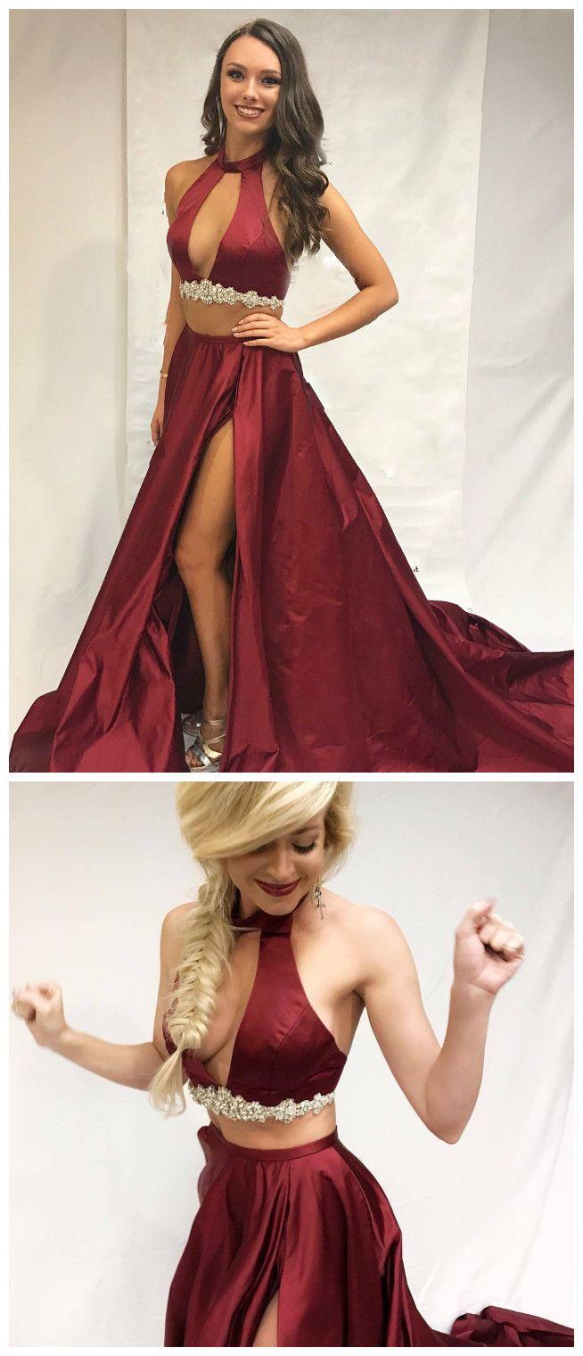Sexy two piece burgundy long prom dress prom promdress dress