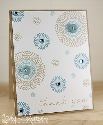 beautiful for so many reasons...the color combo, the stamps, the use of white space, the rhinestones...