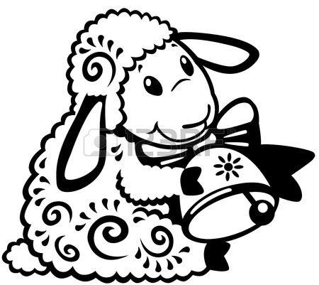 мультфильм овец холдинг колокол, черно-белое изображение для младенцев и маленьких детей Фото со стока