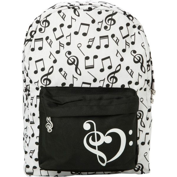Black & White Music Note Backpack | Hot Topic ($23) ❤ liked on Polyvore featuring bags, backpacks, accessories, rucksack bag, strap bag, padded bag, backpacks bags ve black and white backpack
