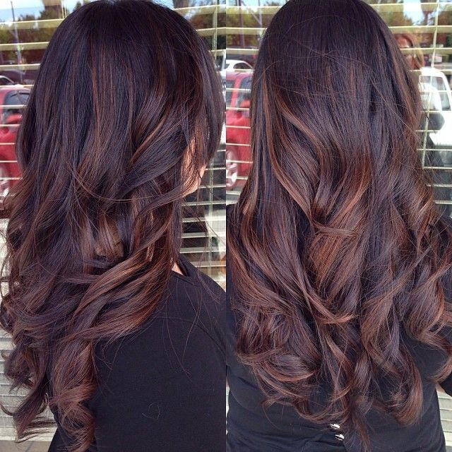 Gorgeous Brunette Hair Love The Red Highlights And Loose Curls Women S Long Hairstyles Hair Color Hair Styles Hair Color Dark Long Hair Styles