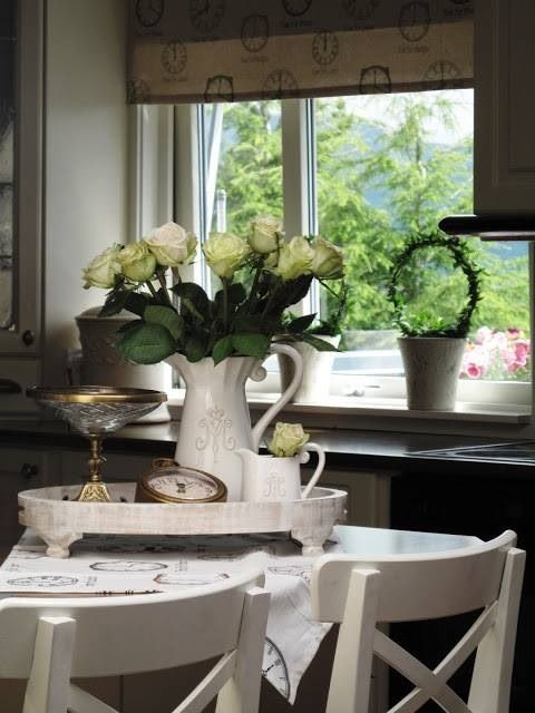 shabby chic, roses, dining, kitchen, topiary, white, pretty, .