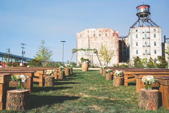 Portland fields park wedding ceremony with reclaimed wood for Reclaimed wood portland or