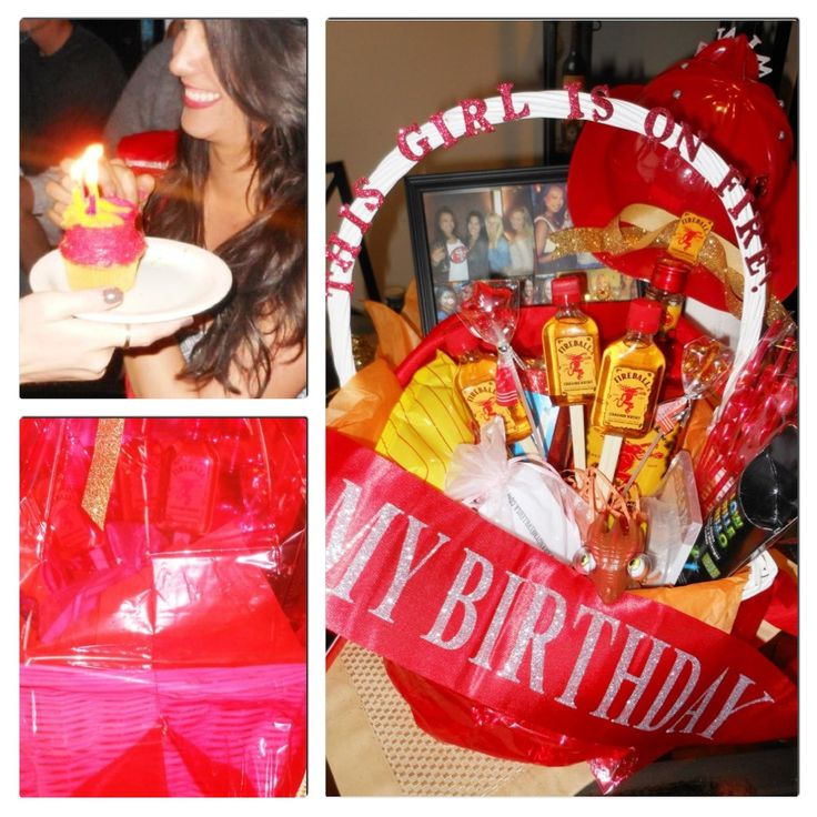 Fireball themed birthday: homemade large fireball cupcake!  All things fire birthday basket gift, includes fireman's hat, mini dragon stress ball, mini fireball alcohol bottles, red fun sipping straws, glow sticks, red bday bash sash, Hot cheetos fries!