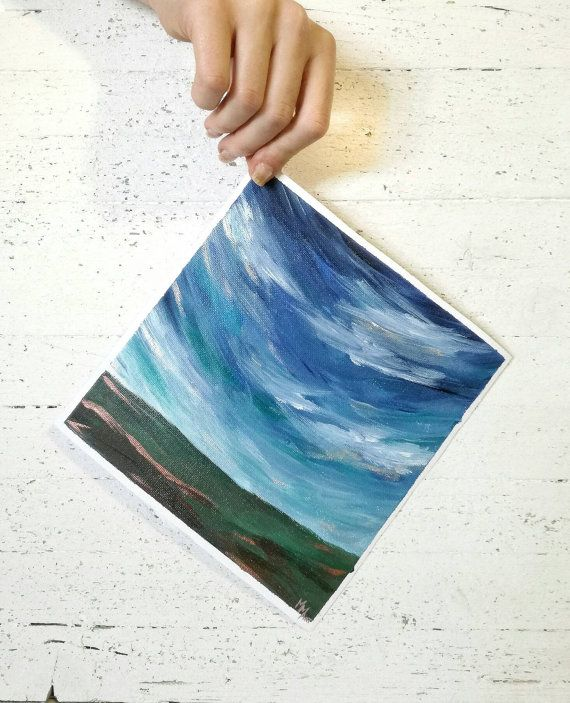Dipinto originale in acrilico su tela di cotone di un paesaggio astratto sui toni del blu e verde 22x22 cm // NO CORNICE by MarMusArt #italiasmartteam #etsy