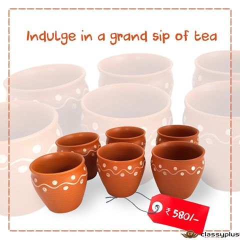 Enjoy your tea/milk espresso/soup in this finely coated hand painted kullad. #Homedecor #Classyplus #TeaTime https://goo.gl/FAzS2G