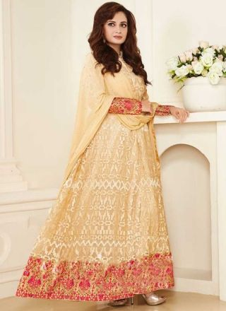 Beige Embroidery Work Georgette Designer Long Wedding Bollywood Anarkali Suit http://www.angelnx.com/Salwar-Kameez/Bollywood-Salwar