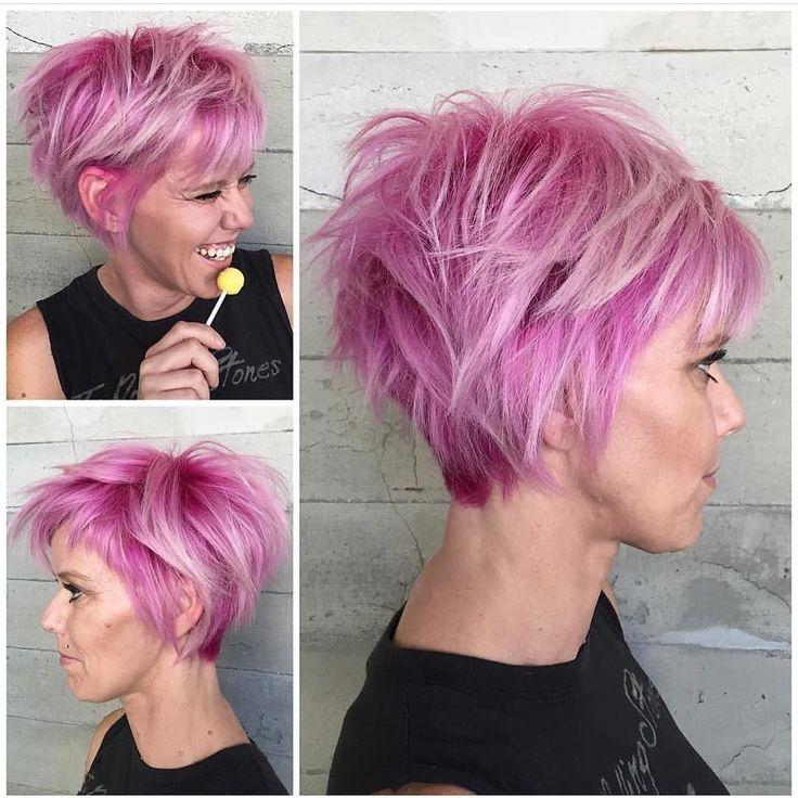 Bubblegum Punk Wonderful pink hair color and short messy style by @alexisbutterflyloft #hotonbeauty #hothairvids by hotonbeauty