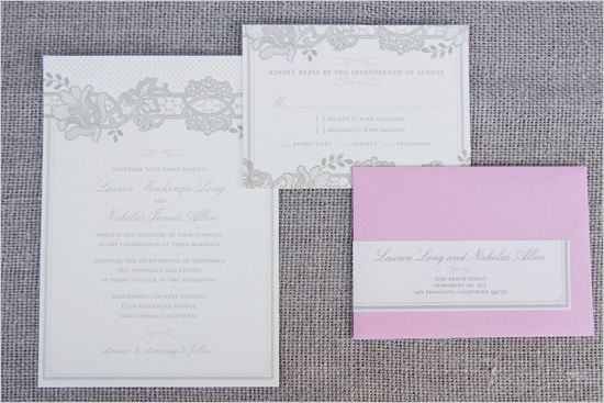 Hello!Lucky gray and pink wedding invite