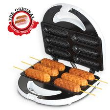 Features:  -Easy to clean.  -Great for parties.  -No messy frying, just plug in and go.  -Enjoy healthier and tastier corn dogs.  -Simple prepare your favorite batter and dip them in and bake.  -Pays