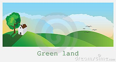 Nature landscape background/green landscape with a house on the hill