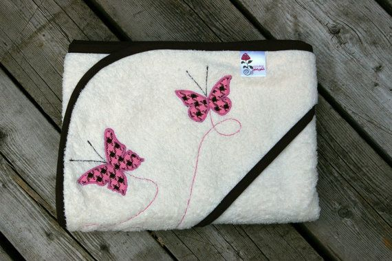over sized hooded towel- butterflies